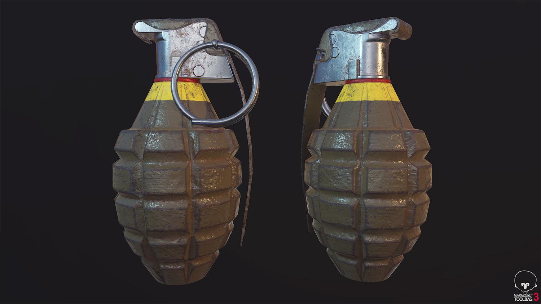 Łukasz Lukasz Liszko - game art - 3d - weapon - broń - granat - mk2