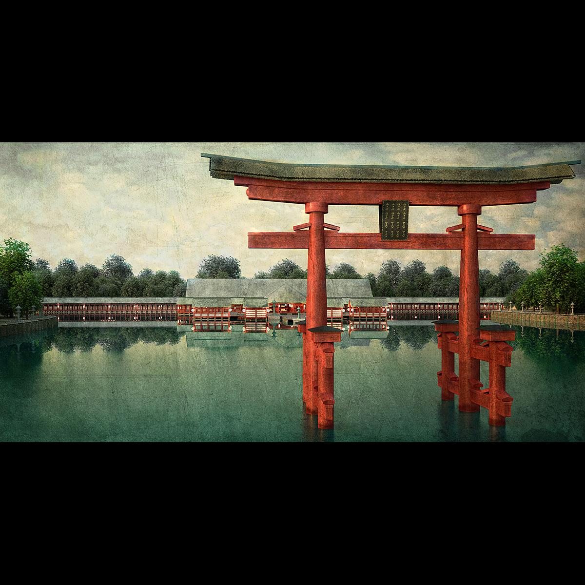 Łukasz Liszko - Digital Painitng / Illustration - Itsukushima Shrine
