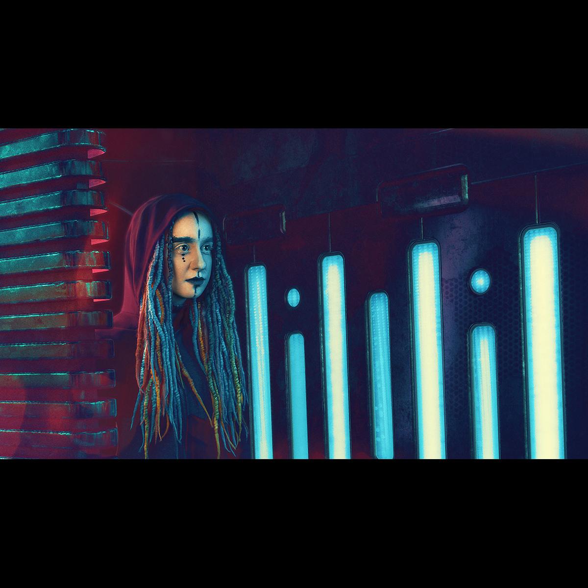 Łukasz Liszko - fotografia / CGI - modelka Sylwia Bajera - mua Małgorzata Paczuska - projektant Askasu - Cyberpunk / Blade Runner
